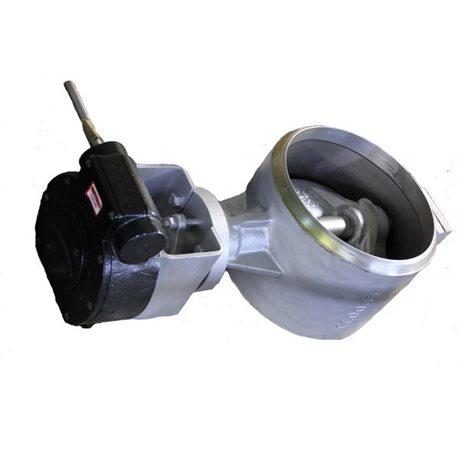 Przepustnica do wspawania AKBW DN 80 PN 25 z potrójnym  mimośrodem z przekładnią mechaniczną